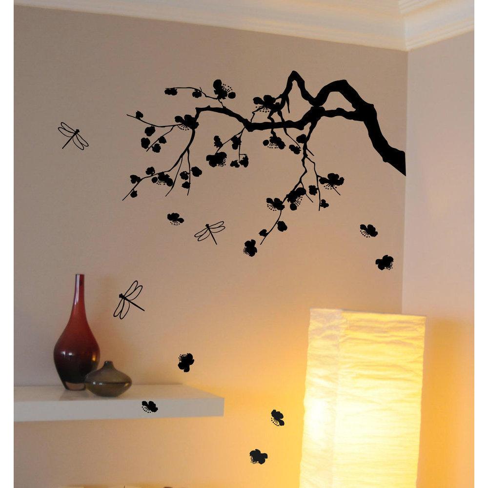 Sticker cerisier japonais d co murale salon zen - Stickers muraux noir et blanc ...
