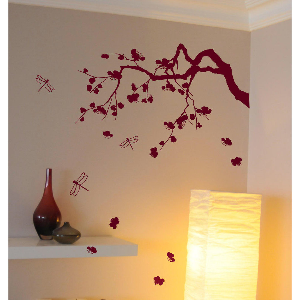 Sticker cerisier japonais d co murale salon zen - Stickers branche d arbre ...