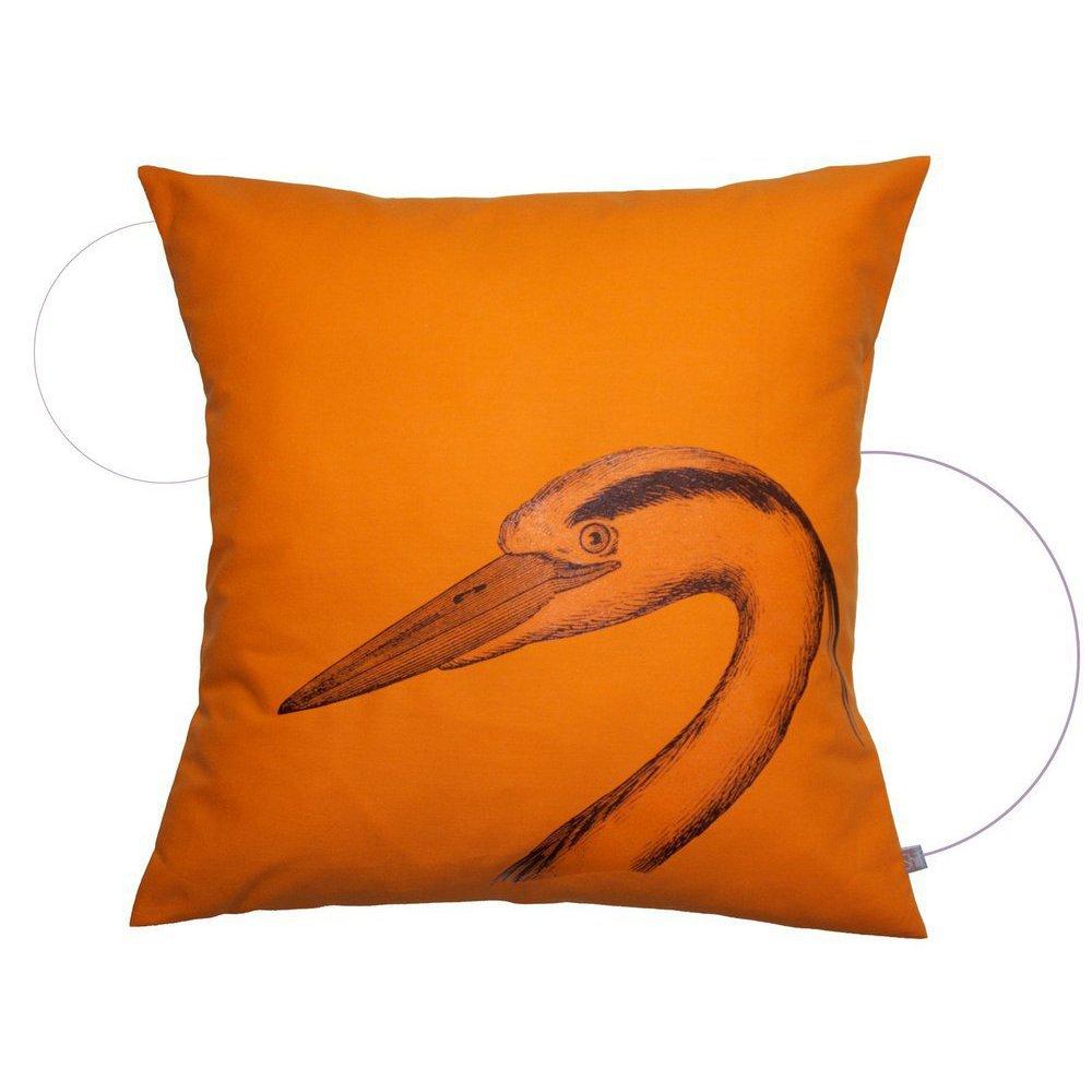 coussin oiseau orange carr. Black Bedroom Furniture Sets. Home Design Ideas