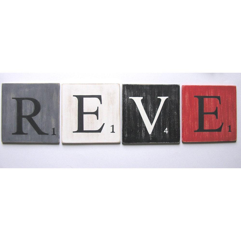 Lettres d coratives 25 cm bois noir - Lettre scrabble deco ...
