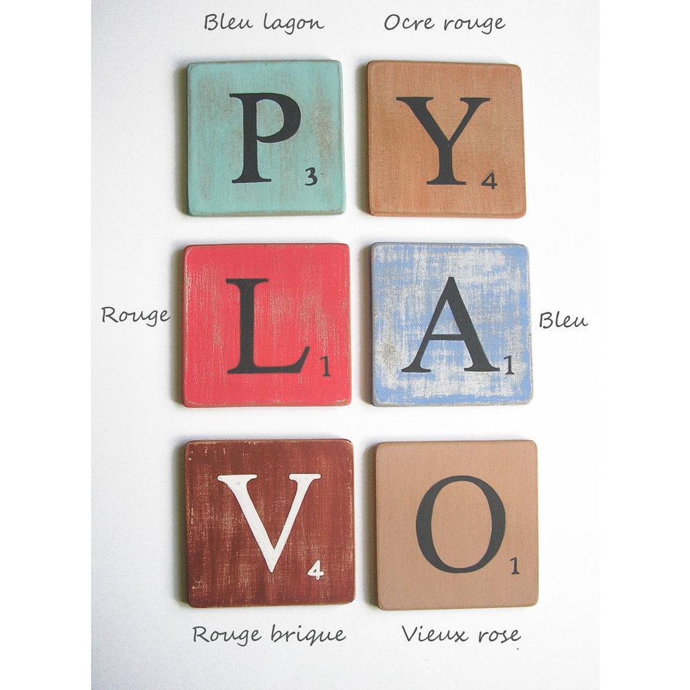 lettres deco bois rose 10 cm