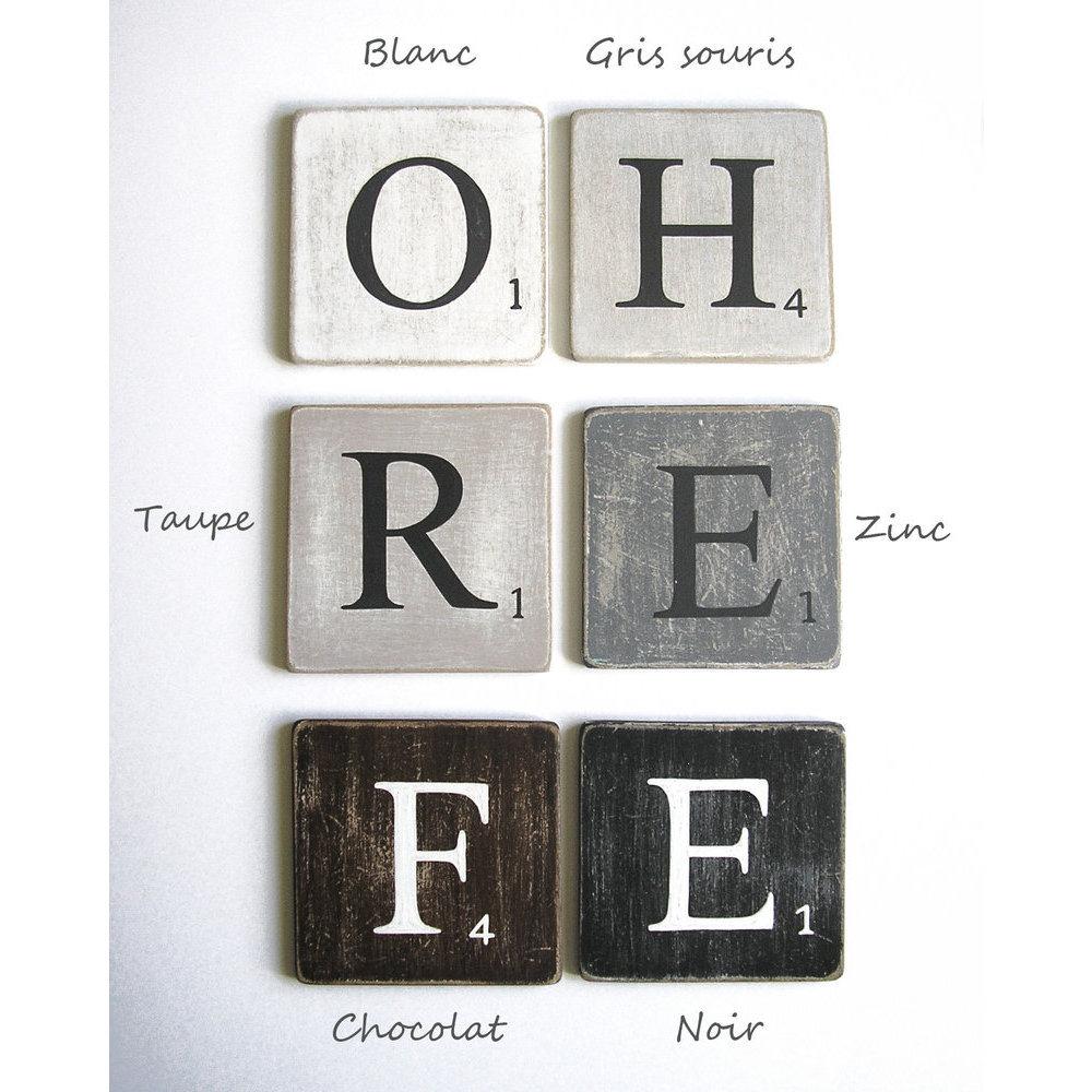 Lettres d coratives 25 cm bois zinc - Lettre scrabble deco ...