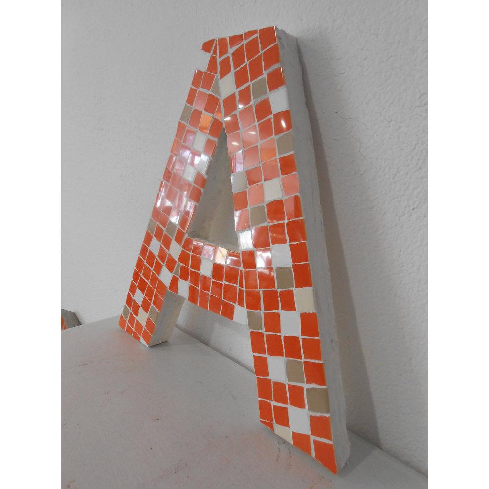 Lettre mosaique pixels rouge 30 cm