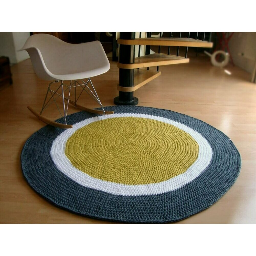 tapis rond jaune gris et bleu. Black Bedroom Furniture Sets. Home Design Ideas