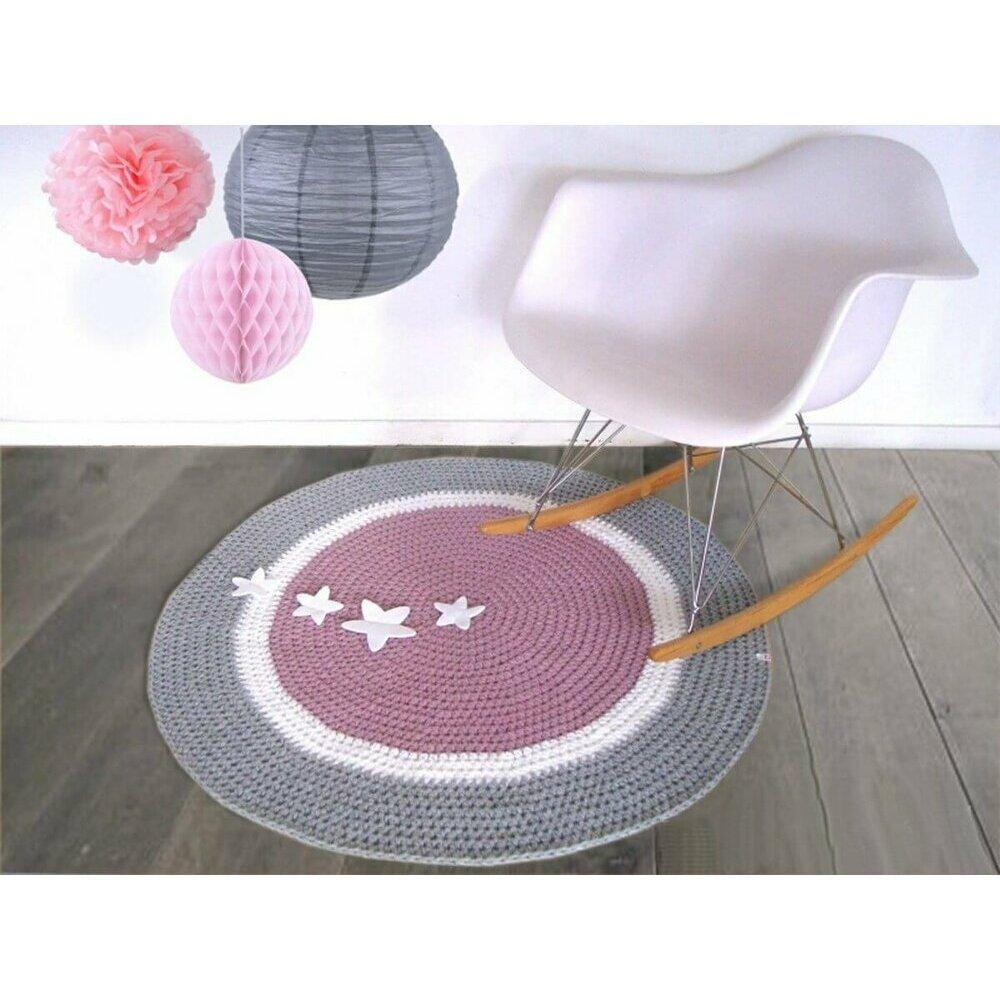 tapis rond rose et gris. Black Bedroom Furniture Sets. Home Design Ideas