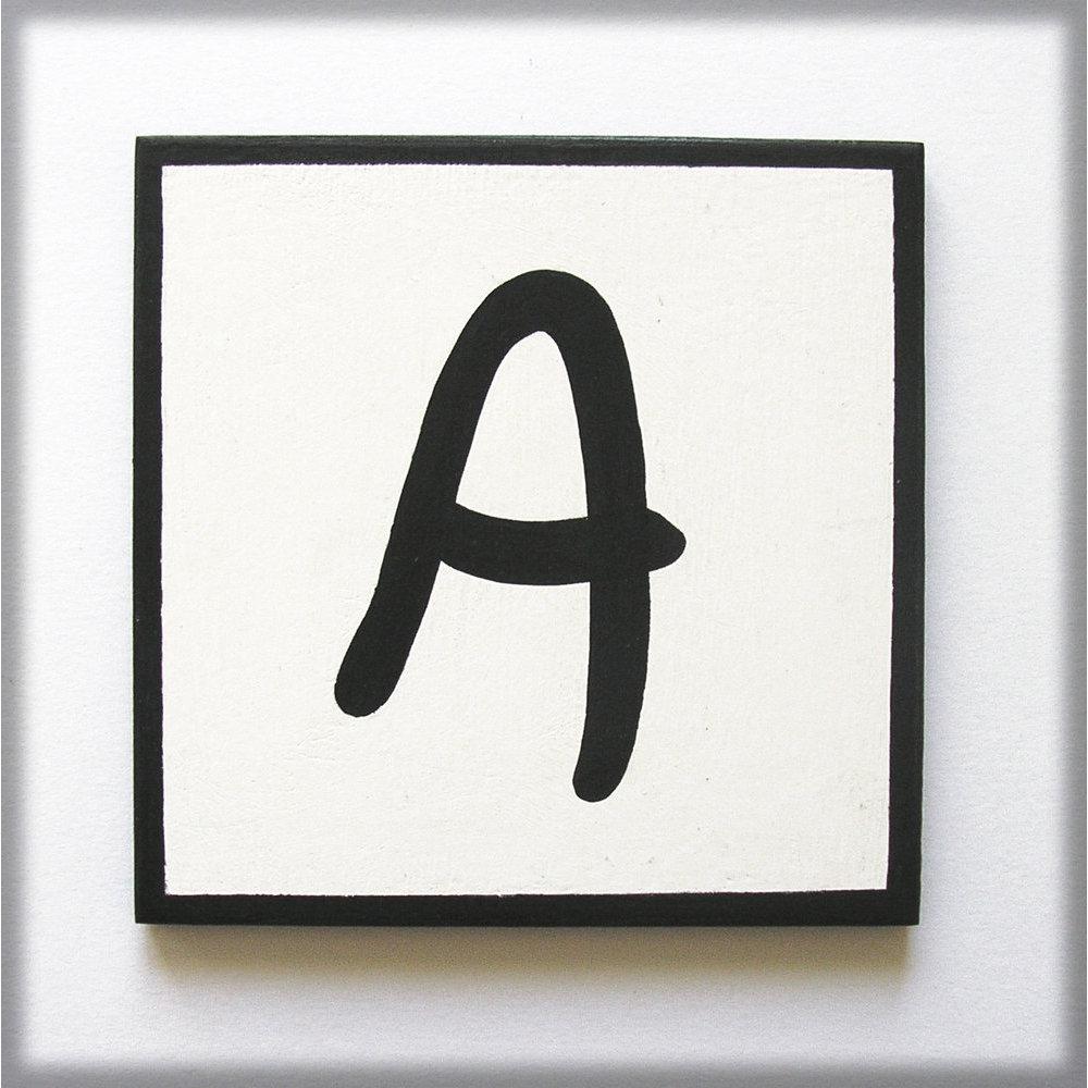 lettre déco noir et blanc 10 cm en bois
