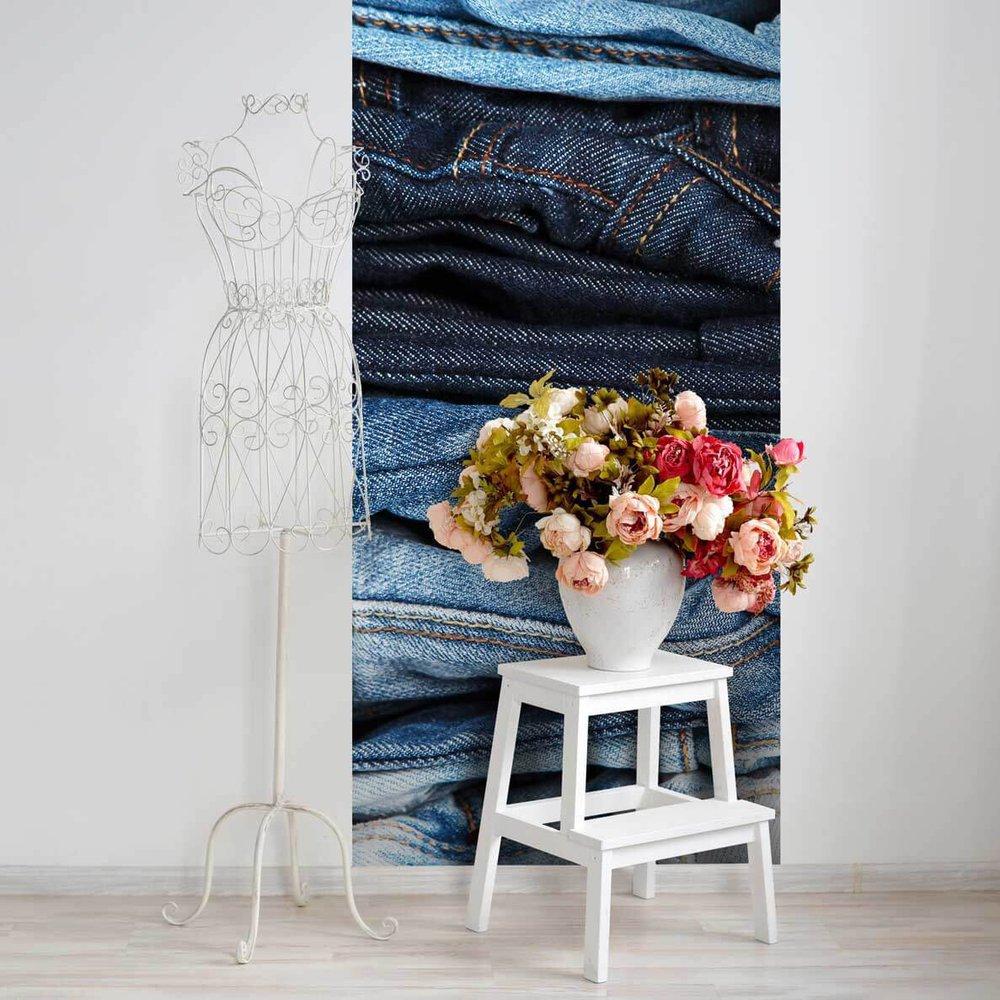 papier peint jeans. Black Bedroom Furniture Sets. Home Design Ideas