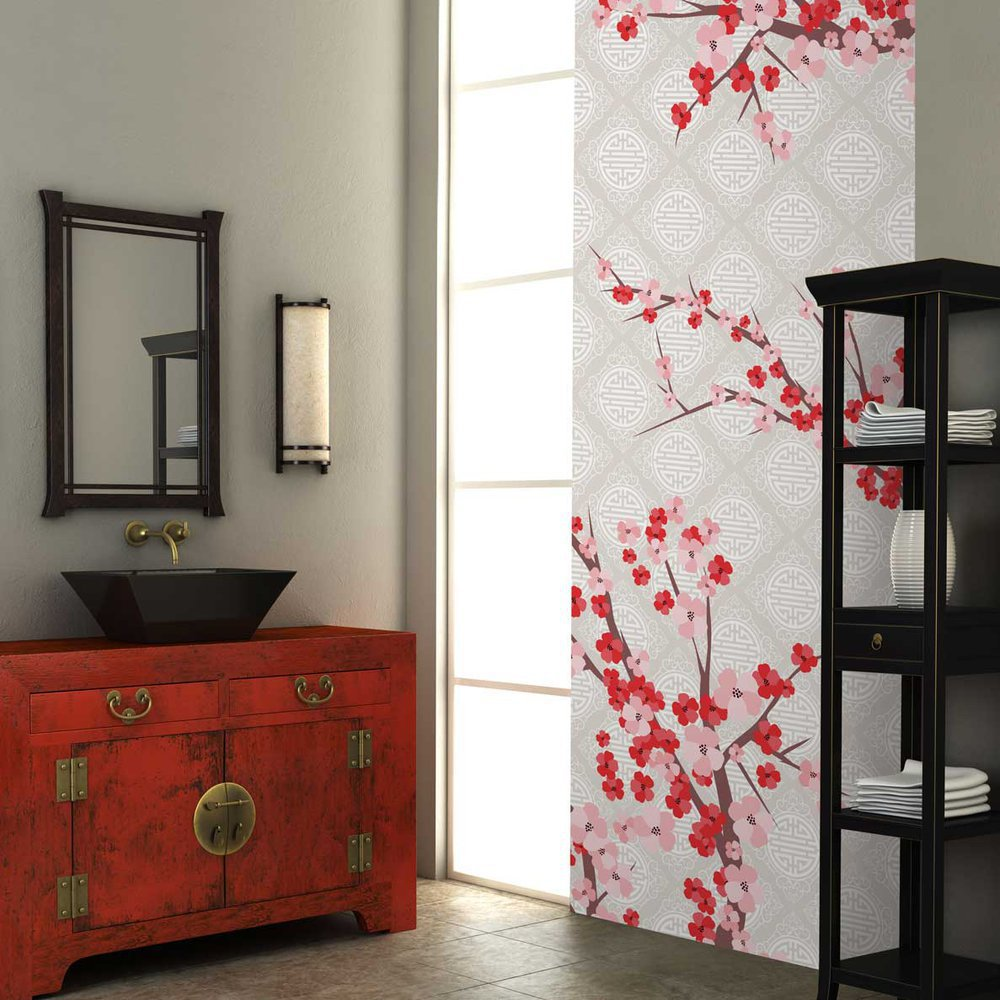 papier peint cerisier japonais. Black Bedroom Furniture Sets. Home Design Ideas