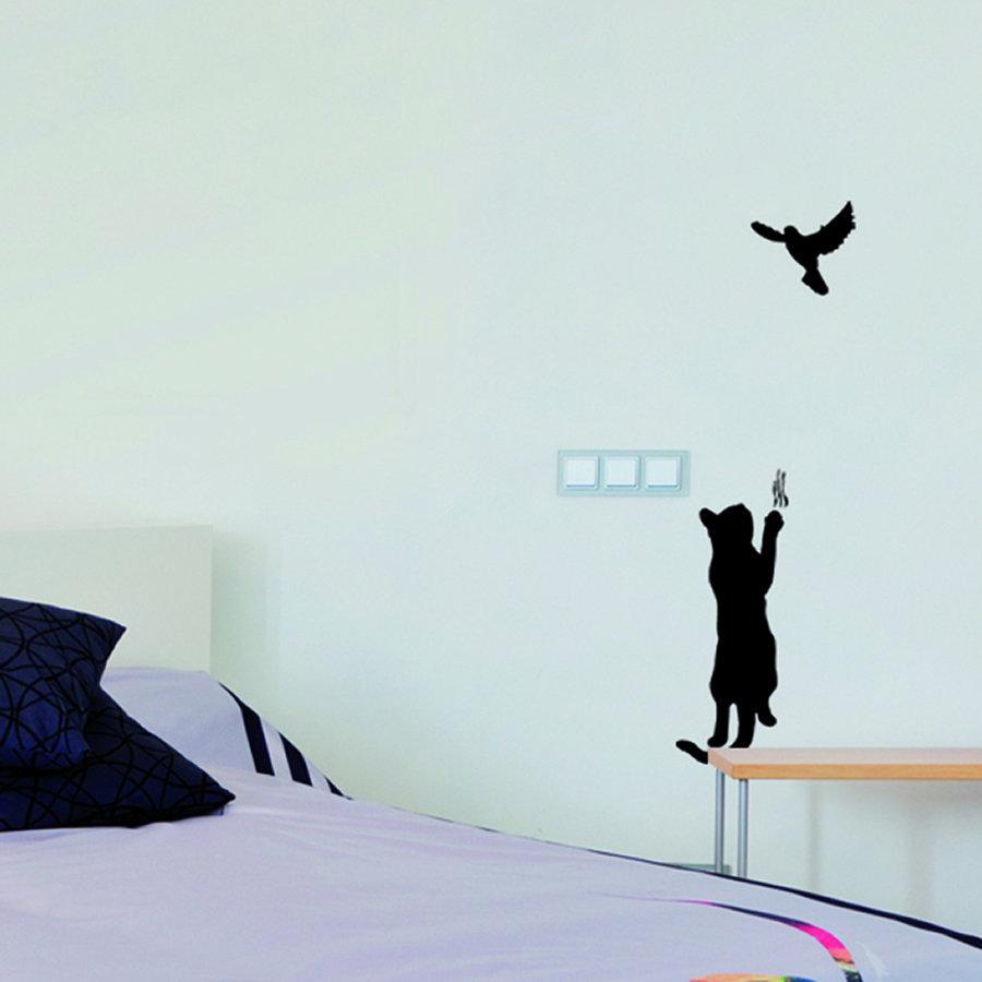 sticker mural chat. Black Bedroom Furniture Sets. Home Design Ideas
