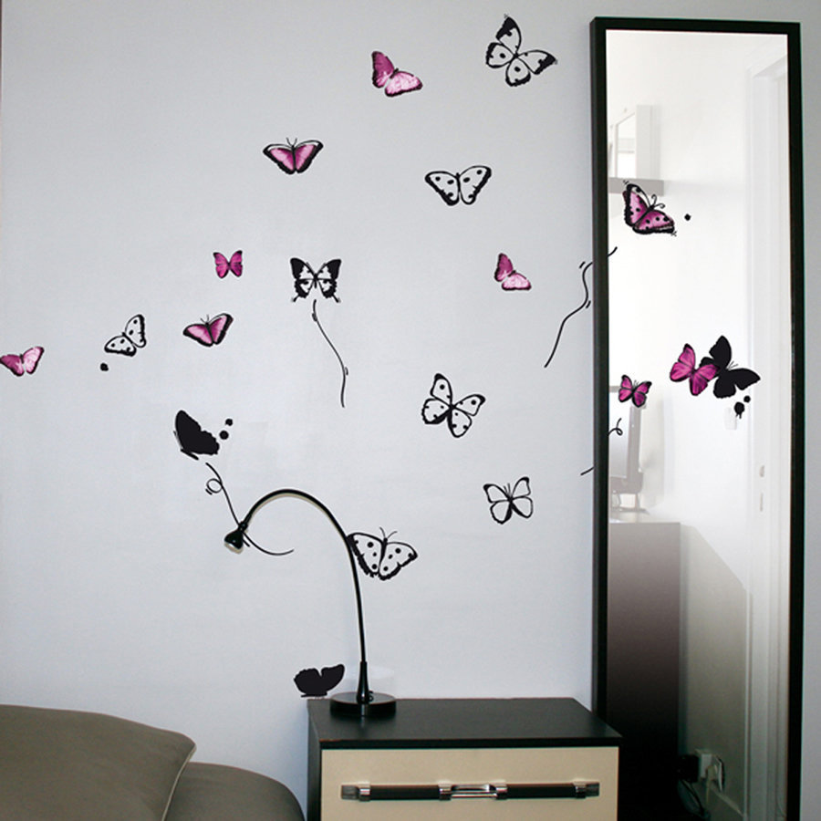 stickers muraux papillons. Black Bedroom Furniture Sets. Home Design Ideas