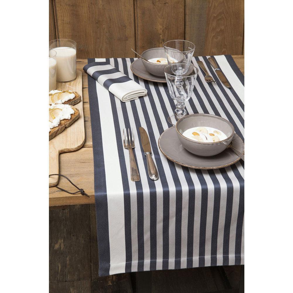 Chemin de table blanc ray gris - Chemin de table noir et blanc ...