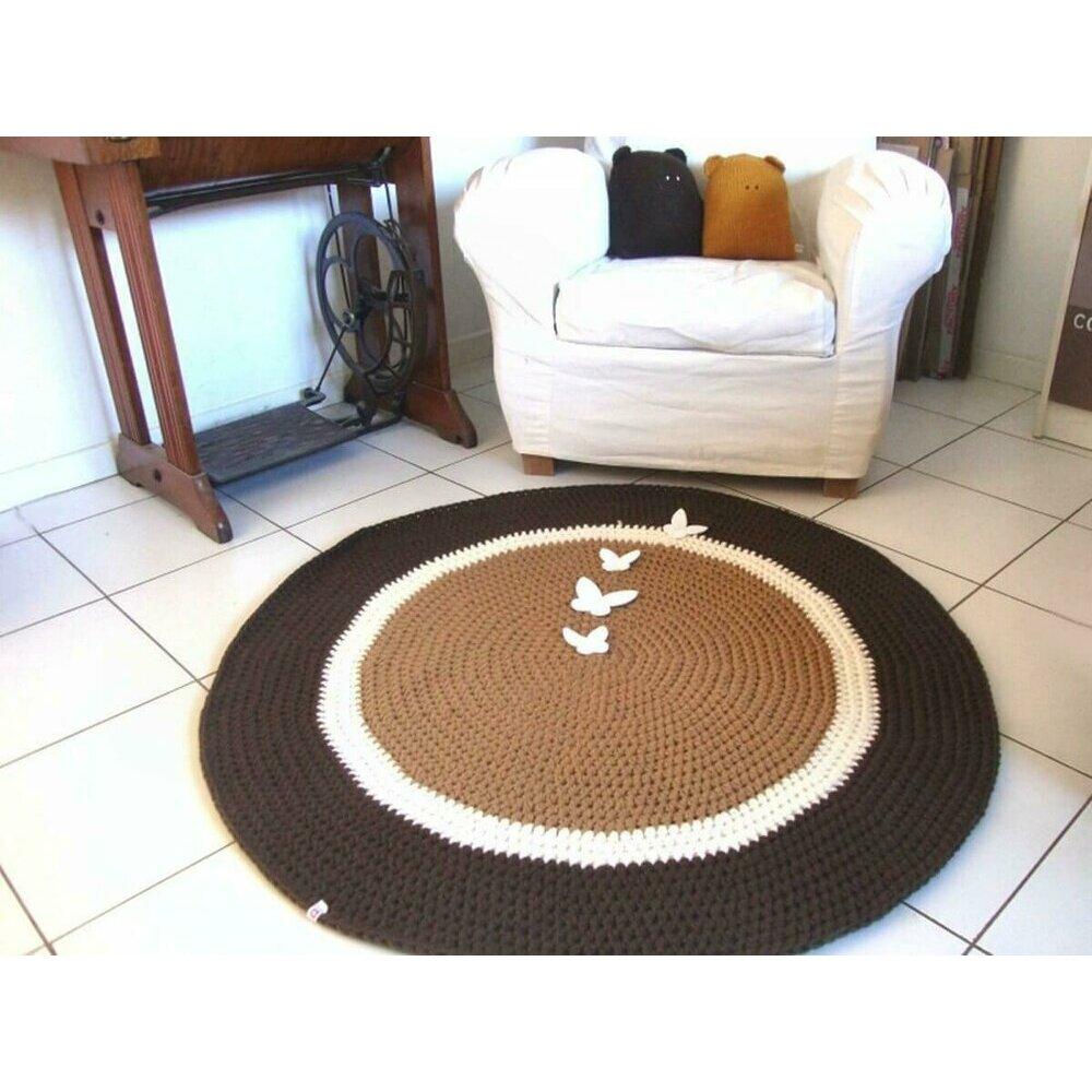 tapis rond marron. Black Bedroom Furniture Sets. Home Design Ideas
