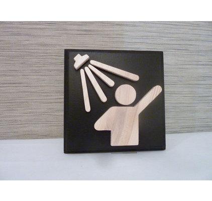 Id e decoration salle de bain en bois for Plaque de porte wc et salle de bain