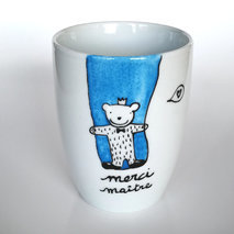 Grand mug message ourson avec fond bleu