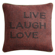 "Coussin message ""Live Laugh Love"""